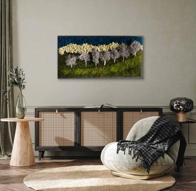 """Moosbild """"White Forest Mountain"""" 100 x 60 cm Holzfaserplatte anthrazit"""
