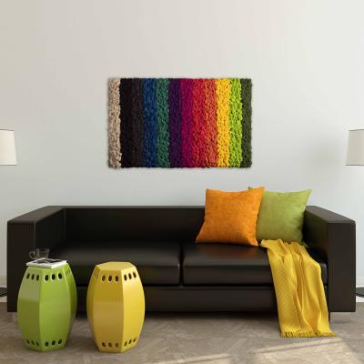 """Moosbild """"Bright Rainbow"""" aus Islandmoos 100 x 60 cm Holzfaserplatte anthrazit"""
