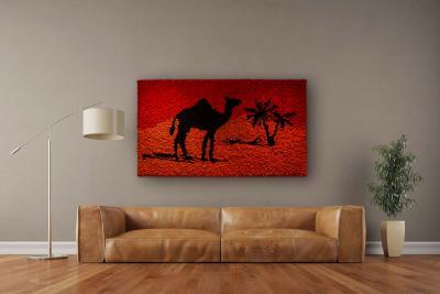 """Moosbild """"Desert Oasis"""" aus Islandmoos 190x110 cm Holzfaserplatte anthrazit ohne Rand"""