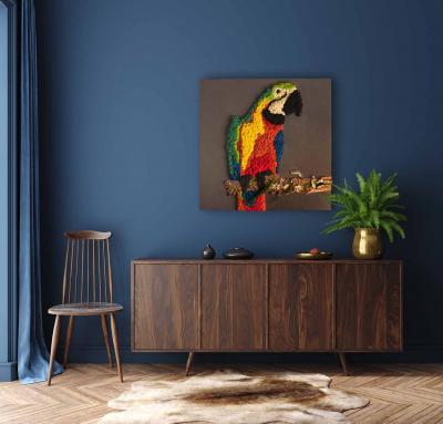 "Moosbild ""Colorful Parrot"" aus Islandmoos 80x80 cm Holzfaserplatte anthrazit"