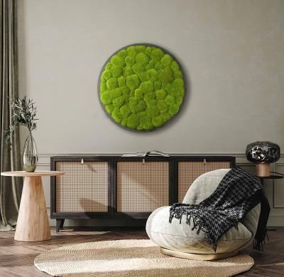 Moosbild ´Rund´ Kugelmoos Grün Ø 70cm auf Holzfaserplatte anthrazit