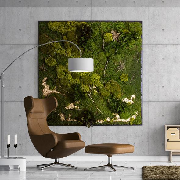 Moosbild Gigant Plateau mit versch. Moosen - 200 x 200 cm Pflanzen & Moos Mix auf Holzfaserplatte schwarz lackiert matt