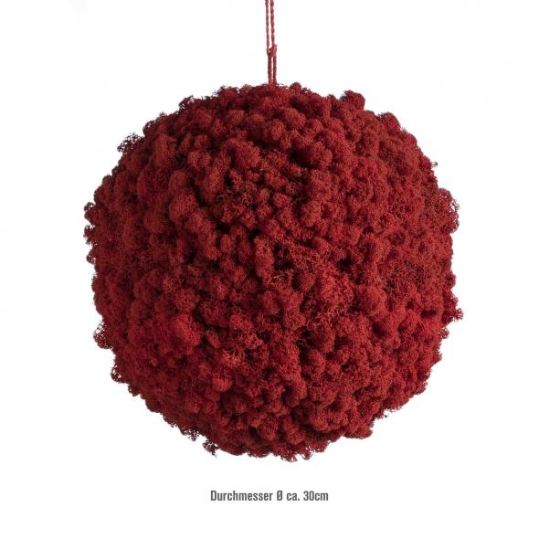 Moosballs mit Islandmoos - Chili Rot - 30 cm Durchmesser