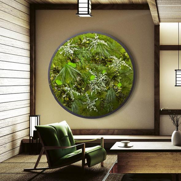Moosbild Gigant Rund Nature Eye London No. 1 Ø 160 cm Dschungel auf Holzfaserplatte schwarz lackiert matt