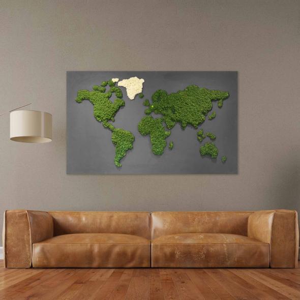 """Moosbild """"Weltkarte"""" mit Islandmoos 200 x 120 cm auf Holzfaserplatte anthrazit"""